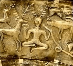 Depiction of Cernunnos on the Gundestrup Cauldron c200BC -300AD